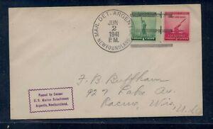 Newfoundland,  Argentia  US  military cancel cover  1941