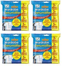Hanging Wardrobe Dehumidifier bags Stops Damp Mould Moisture  - 3pk x 4