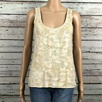 Free People Boho Crochet Lace Floral Tank Top Shirt SMALL Beige Ivory Tan