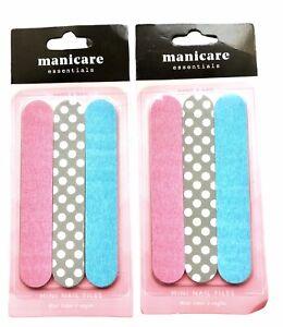 6 Nail Files Emery Boards Mini Multicoloured 3pack Cushioned Manicure