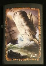 """Zippo by Mazzi """"MOBY WHALE"""" Printed Lighter on BLACK MATTE FINISH, New"""