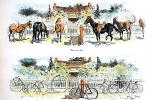 Dating Victorian Era 1895 From HORSES to BICYCLES CYCLES Matted JUDGE Art Print