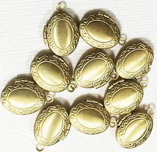 10 pcs solid brass oval locket Pendants, photo frame locket charm 11x16mm