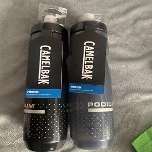 (2) Pack - Camelbak 24oz Podium Bicycle Water Bottles ~ SMOKE / BLACK