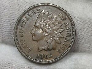 VF+ 1865 Indian Head Penny w/ Full LIBERTY.  #5