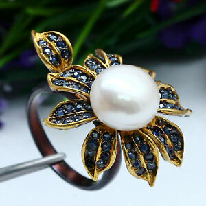 NATURAL HEATED BLUE SAPPHIRE & 11 mm. ROUND WHITE PEARL FLOWER RING 925 SILVER
