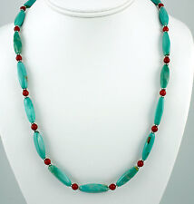 Blue Turquoise Red Coral Necklace Bali Sterling Silver Beaded Handcrafted iDu
