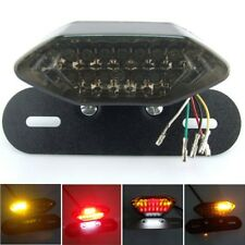 12V LED Motorcycle Turn Signal Brake License Plate Intergrated Tail Light Black