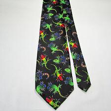 Addiction IGUANA 100% Polyester Tie Black Colorful Lizards