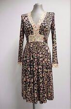 Fabulous Issa London Silk Jersey Dress Ribbons & Bows Print Brown US6 UK10 EU38