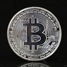 Bitcoin Silver Plated Physical Commemorative Bitcoin +Protective Acrylic Case #D