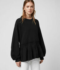 All Saints Womens Nio Black Designer Crew Pullover Relax Sweatshirt Sweater New