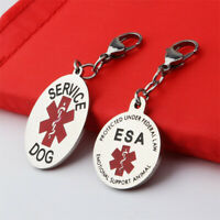 1PC Service Dog Tag Keychain Therapy ESA Round Tag Pendant Drop Accessories