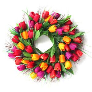 Lifelike Tulip Wreath Door Hanging Ornament Garland Wall Decor Simulation Wreath