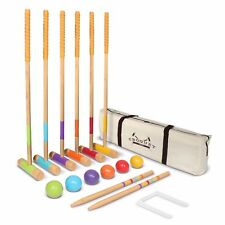 GoSports Premium Wood Croquet Set - Full Size for Adults & Kids w Carrying Case
