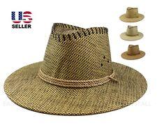 Mens Cowboy Fedora Hat Wide Brim Sun Visor Summer Fishing Hiking Linen Straw