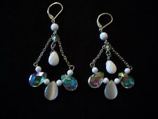 CHANDELIER EARRINGS AB WHITE GLASS MOONSTONE BEAD SILVER PLATED STATEMENT DANGLE