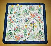 Gucci authentic vintage  scarf women's foulard silk floral Butterfly Bugs Print
