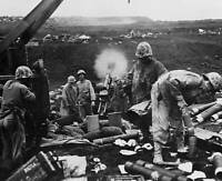 OLD LARGE MILITARY PHOTO, WWII Battle Iwo Jima, the American bombardment