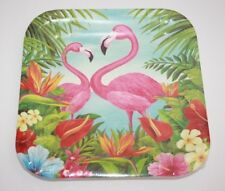 Pink Flamingo Paper Plate Square 9 inch 14 plates