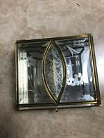 Vintage Jewelry Box Casket Trinket Beveled Glass Divided Mirrored Bottom