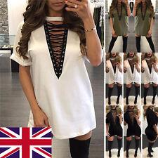 Women Choker V Neck Casual Loose Tops T-Shirt Lace-up Plunge Blouse Mini Dress