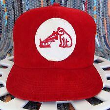 Vtg Rca Victor Corduroy Patch Snap Back Hat Dog Nipper Gramophone Trucker Cap