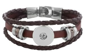 Brown Leather 18mm 20mm Interchangeable Snap Bracelet For Ginger Snaps Jewelry