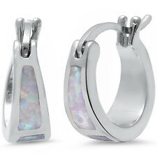 TOP SELLER WHITE AUSTRALIAN OPAL HOOP HUGGIE STYLE .925 Sterling Silver Earring