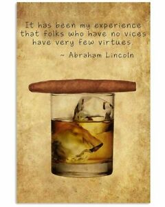 Whiskey And Cigar Vertical Poster Wall Decor Poster, no frame