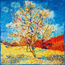 "Van Gogh Peach Tree- Light 100% genuine natural silk square neck scarf-52 cm/20"""