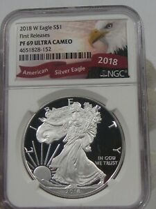 Ultra Cameo Proof 2018-W Silver American Eagle NGC PF69UC 1st Releases.  #5