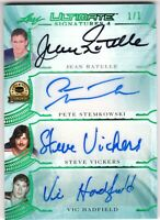RATELLE STEMKOWSKI VICKERS HADFIELD 2019-20 Leaf Ultimate Hockey AUTOGRAPH #1/1
