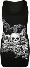 New Womens For Ever Young Sequins Skull Summer Vest Tops 8-14