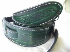 UK MADE EMBOSSED GREEN CELTIC DESIGN REAL LEATHER ACOUSTIC ELECTRIC GUITAR STRAP