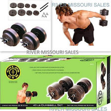 Gold's Gym 40 lb Vinyl Dumbbell Set-Free Weights-Versatile Movement Workout- NEW