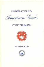 #1142-C3 First Day Ceremony Program Francis Scott Key Credo