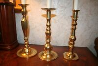 "Set of 3 Vintage 11"" 10"" & 10"" Heavy Solid Brass Candlesticks"