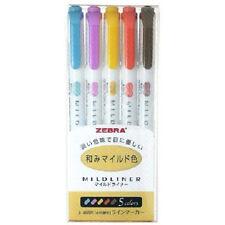 Zebra Mildliner 5 Colour Yellow Highlighter DOUBLE SIDED Marker Pen WKT7-5C-RC
