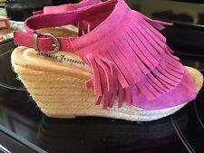 "NEW Minnetonka Ashley Suede 3"" Vamp Wedge Fringe Sandal FUSCHIA PINK Size 5"