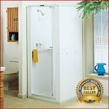 Shower Enclosure With Base Stall Kit Walk In Standing Bathroom Standard White