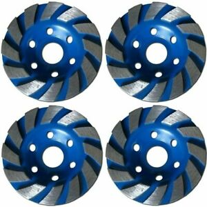 """4 PACK - 4"""" Concrete Turbo Diamond Grinding Cup Wheel for Angle Grinder 12 Segs"""