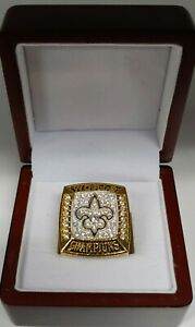 Drew Brees - 2009 New Orleans Saints Super Bowl Custom Ring WITH Wooden Box