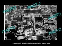 OLD POSTCARD SIZE PHOTO INDIANAPOLIS INDIANA AERIAL VIEW OF TOWN CENTRE c1930