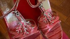 NIB $825 Valentino Garavani Coral Alligator Crocodile Print Crystal Sandals 37