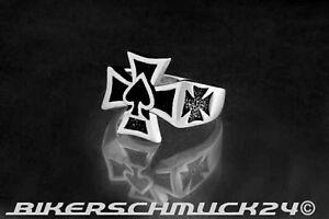 Rockabilly Schmuck Ring Iron Cross Pik Spades Eisernes Kreuz Bikerschmuck Harley
