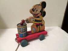 New listing Vintage Mickey Mouse Drummer Pull Toy Walt Disney Productions As Is
