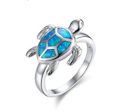 Natural Beautiful Turtle blue Opal ring Silver Plated Jewelry Party Ring Size 9