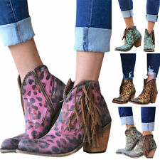 Womens Ladies Ankle Boots Low Mid Block Heels Zip Up Booties Tassel Shoes Size