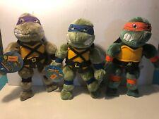 """Vtg Teenage Mutant Ninja Turtles  Plush 15"""" Set Of 3 With Tags 1989 TMNT"""